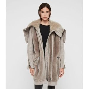 Allsaints State Lux Parka Shearling Suede Gray M
